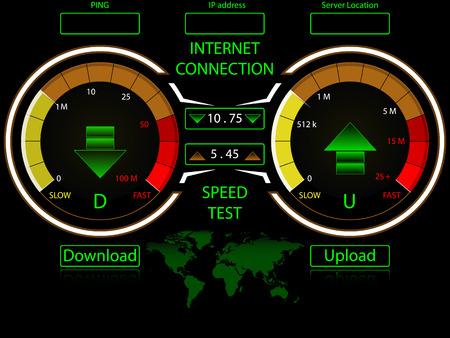 compteur de vitesse: Manomètres Internet haute vitesse de connexion, le téléchargement et le téléchargement, avec la carte du monde pour des emplacements de serveur
