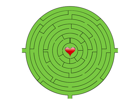 Maze with red heart in the middle  Vector
