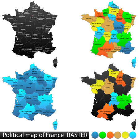 versatile: Political and location map of France  Versatile file, every piece is selectable and editable in layers panel  Turn on and off visibility of every province in one click  Vector, eps 10