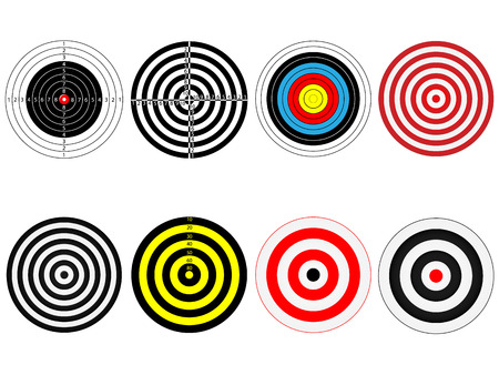 target practice: Set of eight vector targets, isolated on white