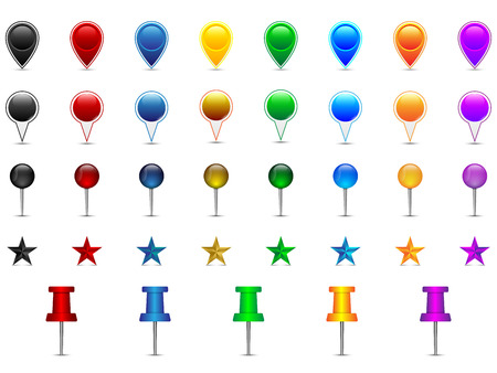 point of interest: Set of colorful location pointers, pins, stars, needles, speech bubbles