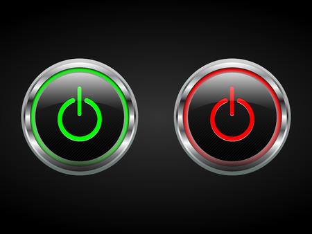 Botones de encendido, verde y rojo, se encienden de símbolos, editable, vector Foto de archivo - 28994544