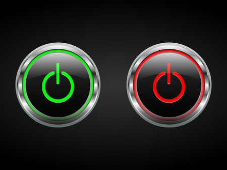 Power buttons, green and red, turn on off symbols, editable, vector