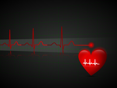 Abstract pulse line and red heart  Health concept, illustration in perspective