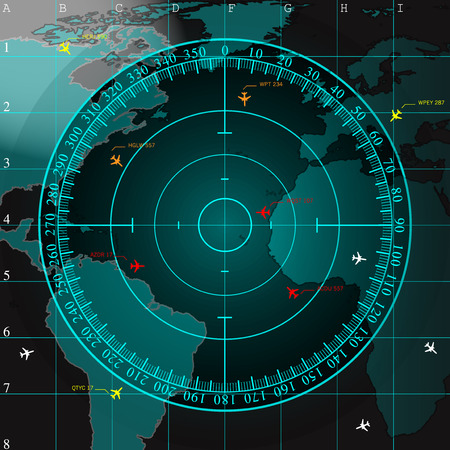 airplane: Blue radar screen over square grid lines and highly detailed map of the world, vector  Illustration