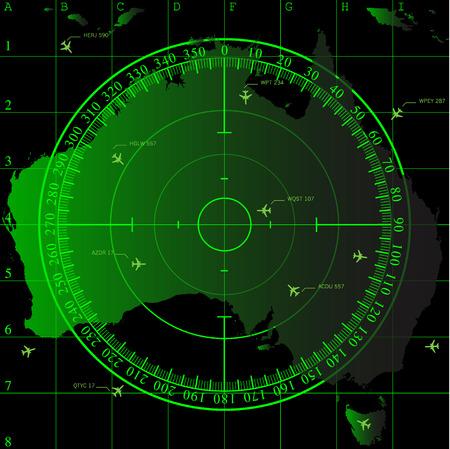 Green radar screen over square grid lines and map of Australia territory, vector  Illusztráció