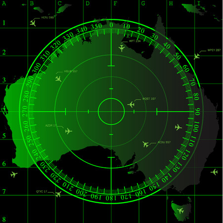 Green radar screen over square grid lines and map of Australia territory, vector  Illustration