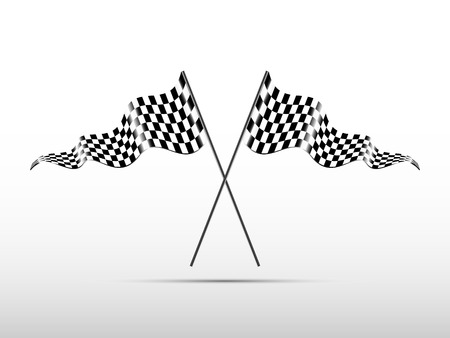 racing checkered flag crossed: Racing checkered flags, vector  Illustration