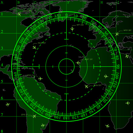 air traffic: Green radar screen over square grid lines and highly detailed map of the world, vector