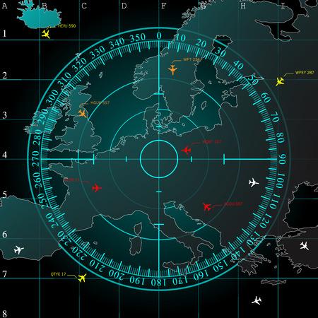正方形のグリッド線、および滑らかな光の下にある、ベクトルとのヨーロッパの領土の地図上の青いレーダー画面