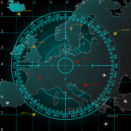 radars: Blue radar screen over square grid lines, and map of Europe territory with smooth light beneath, vector  Illustration