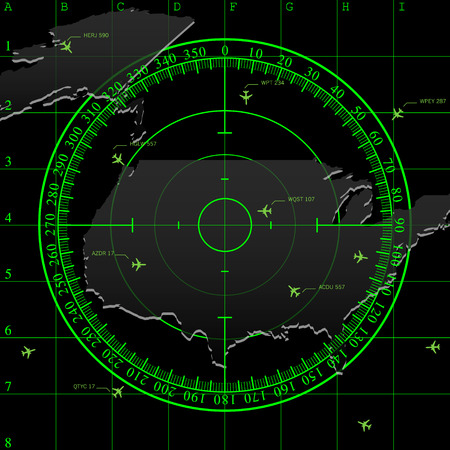air traffic: Green radar screen over square grid lines, and map of USA territory, vector
