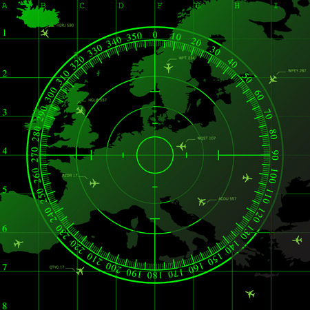 quadrant: Green radar screen over square grid lines and map of Europe territory, vector