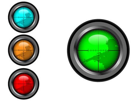 vision nocturna: Alcance del francotirador de cruz, con el objetivo de soldado silueta, vector en cuatro colores