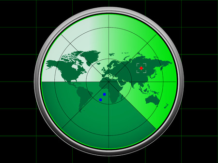 enemies: Radar screen display with map of the world inside  Illustration