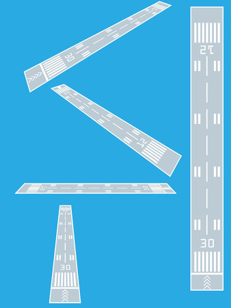 Airport runway, top and perspective views vector