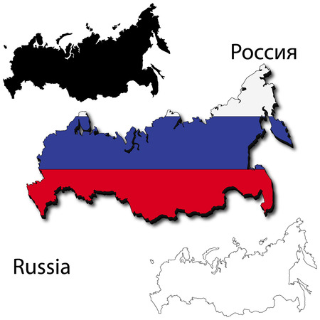 far east: Maps of Russia, 3 dimensional with flag clipped inside borders,and shadow, and black and white contours of country shape, vector