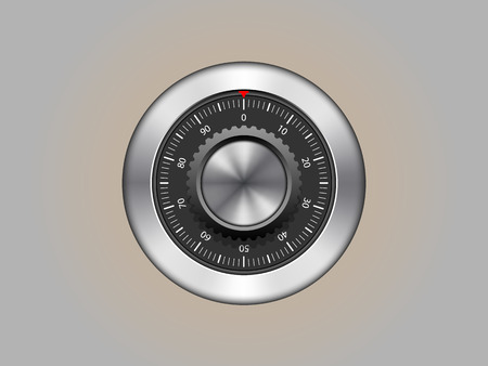 safe lock: Bank safe combination lock, isolated, vector
