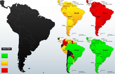 Carte détaillée de la situation de l'Amérique du Sud, très facile, entièrement modifiable, avec des détails d'instruction dans la couche séparée, vecteur