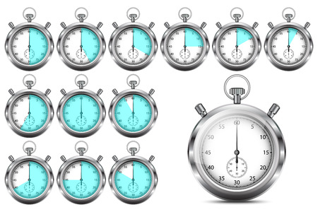 55 to 60: Set of stopwatches showing 5, 10, 15, 20, 25, 30, 35, 40, 45, 50, 55, and 60 seconds or minutes, vector, isolated on white background