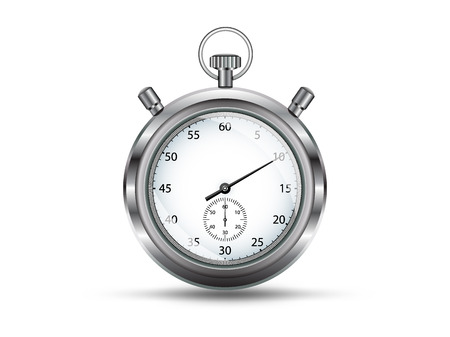 analogue: Analogue silver stopwatch, isolated on white background,vector