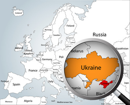 Magnifying Glass Over Map Of Europe Part Of Asia And Africa - Map ukraine over us