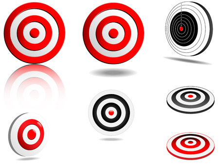 3 dimensional: Abstract vector targets set, normal and 3 dimensional view, with shades and reflections,isolate d on white