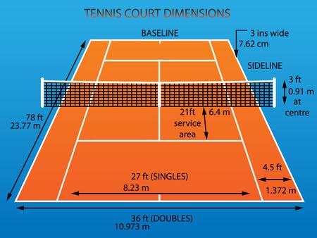 Tennis court with dimensions  clay   Illusztráció