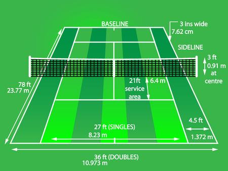 sideline: Cancha de tenis con dimensiones hierba Vectores