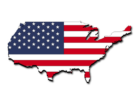 Abstract tree dimensional map of United States, with shadow beneath, and national flag clipped in country shape,