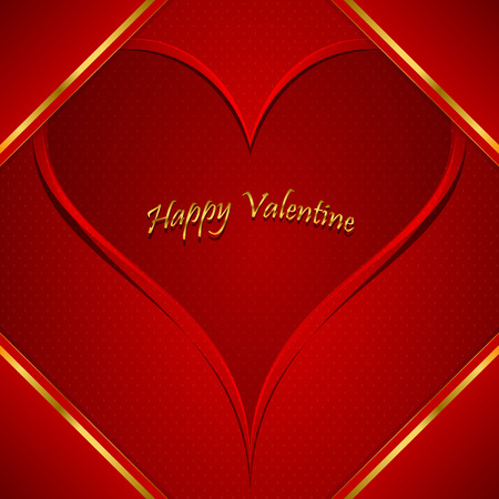 Valentine s day red greeting card, with golden elements