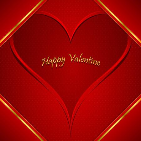 Valentine s day red greeting card, with golden elements Reklamní fotografie - 29029119