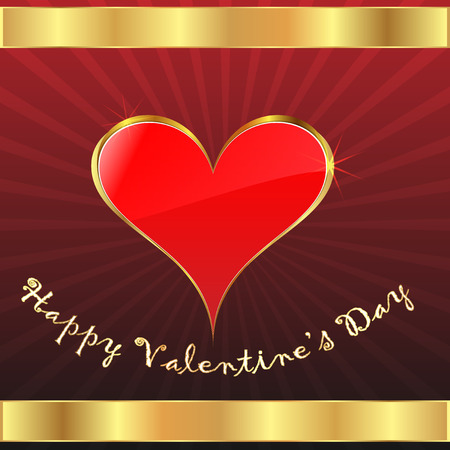 Valentine s day gift card with golden framed red heart, vector