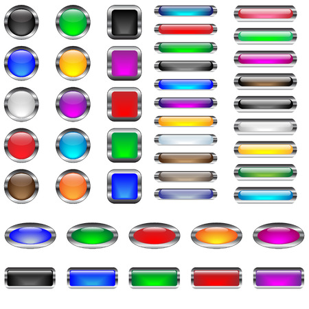 Glossy, metal framed, empty vector buttons, in six shapes and various colors, very easy editable
