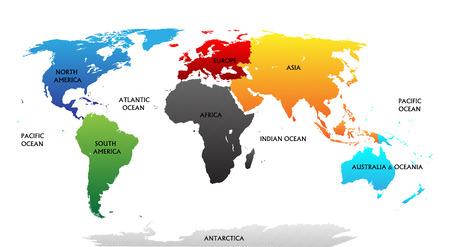 Wereldkaart met gemarkeerde continenten in verschillende kleuren Alle labels zijn in de afzonderlijke laag