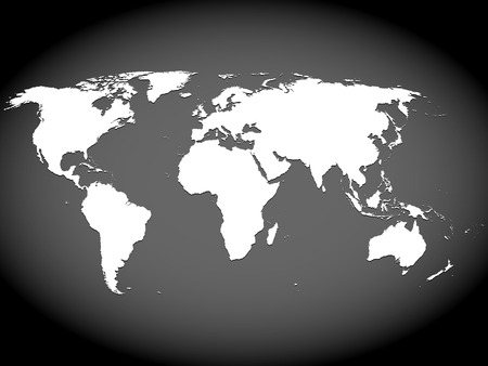 Very high detailed map of the world, with slight 3 D appearance, placed on gray ellipse background,vector