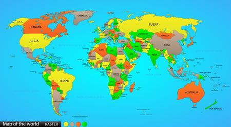 Politieke kaart van de wereld op de oceaan blauwe achtergrond, met elke staat gelabeld en selecteerbare label in het deelvenster Lagen ook Veelzijdig bestand, zet een off zichtbaarheid en de kleur van elk land in een klik Stock Illustratie
