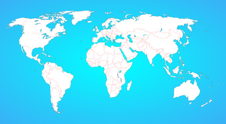 World map with borders between all countries  White shape, isolated on blue, borders are in red  Countries are not selectable individually   Vector