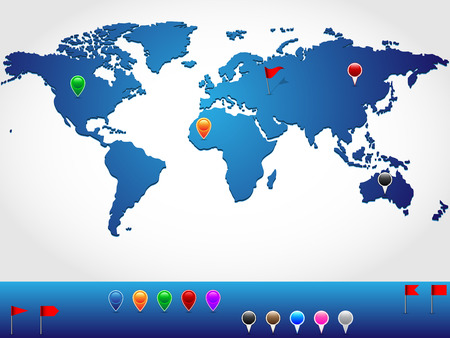 pinpoint: World map in slight 3d look and perspective, with colorful pins and banners for location pinpoint