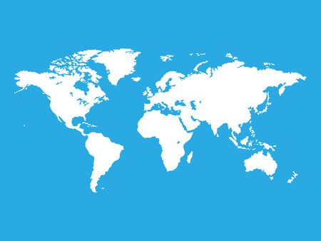 map of world: Map of the world isolated on blue