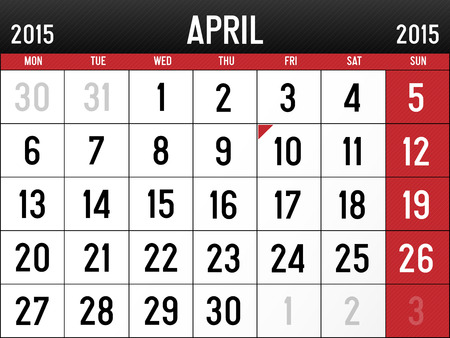 Calendar for April 2015 Ilustrace