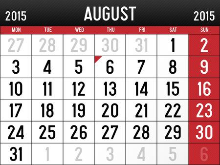 Calendar for August 2015 Reklamní fotografie - 29032054