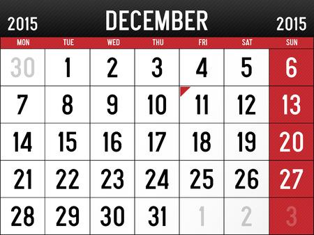 Calendar for December 2015 Reklamní fotografie - 29032056