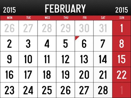 Calendar for February 2015  Vector