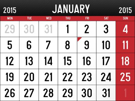 Calendar for January 2015  Vector
