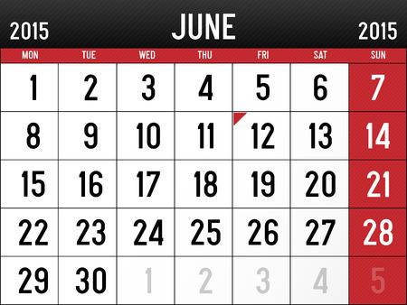 Calendar for June 2015 Reklamní fotografie - 29032061