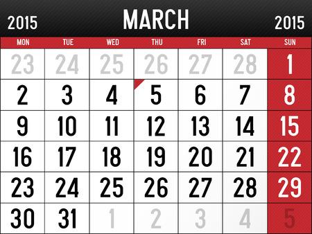 Calendar for March 2015  Vector