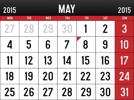 Calendar for May 2015 Reklamní fotografie - 29032063