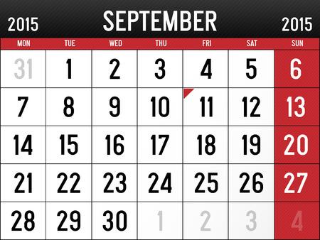 Calendar for September 2015 Reklamní fotografie - 29031973