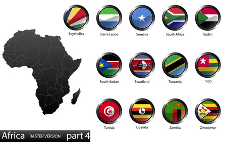 High detailed national flags of African countries, clipped in round shape glossy metal buttons, vector, part 4